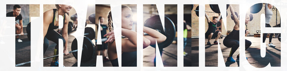 Collage of a woman doing weight training at the gym