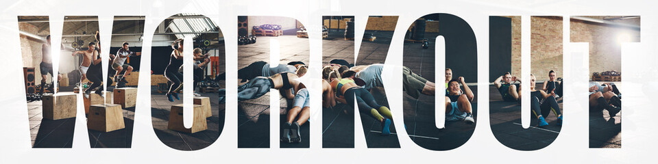 Collage of fit people exercising together in a gym workout