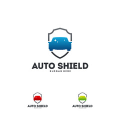 Automotive Shield logo designs concept vector, Car Protect logo template