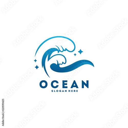 ocean wave logo designs concept vector wave logo template