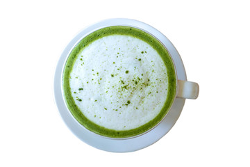 Hot green tea matcha latte in  white cup ,beverage with milk isolated on white background .