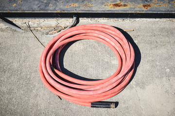 single Pink watering hose coiled on sidewalk