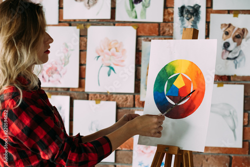 Painting Lessons And Art Classes Teacher Explaining Dye Mixing