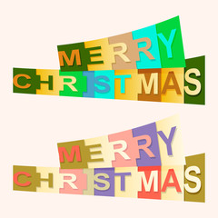 Festive Merry Christmas text with letters of various colors.