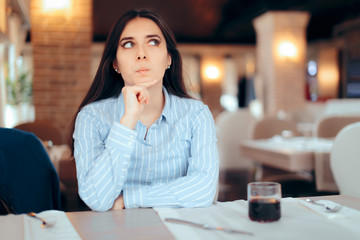 Funny Girl Thinking about a Plan In Restaurant