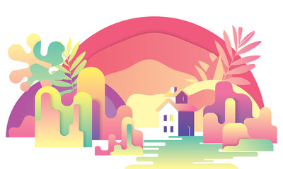 cartoon forest, trees and village house, colorful gradient landscape, flat illustration