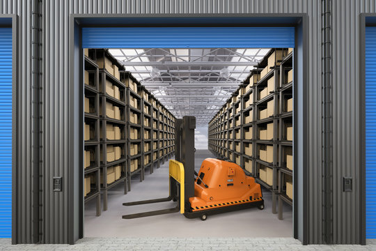 automatic forklift in warehouse.