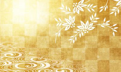 草木と金色の市松模様の背景