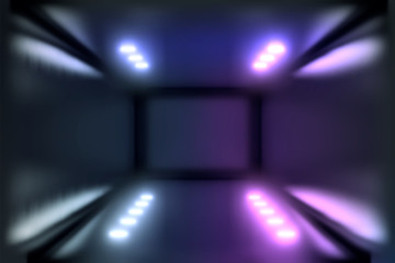 3d Visualization. Geometric figure in neon light against a dark tunnel. Laser glow.