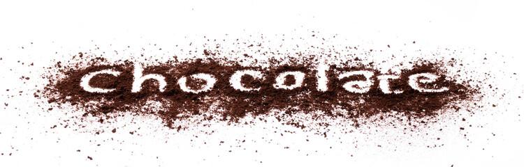 chocolate powder isolated on white background