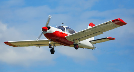 Light aircraft flying in sky