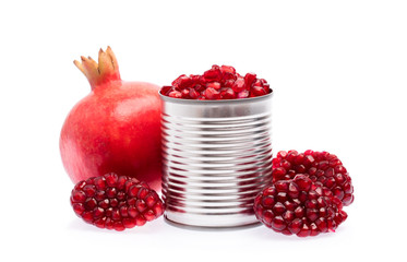 aluminum can with seed pomegranate isolated on white background