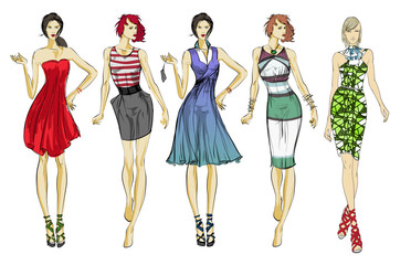 Stylish fashion models. Pretty young girls. Fashion girls Sketch Wall mural