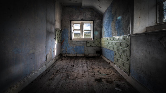 Old ruined abandoned house with a haunting atmosphere