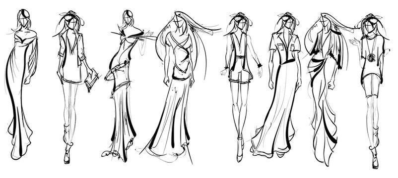 Stylish fashion models. Pretty young girls. Fashion girls Sketch