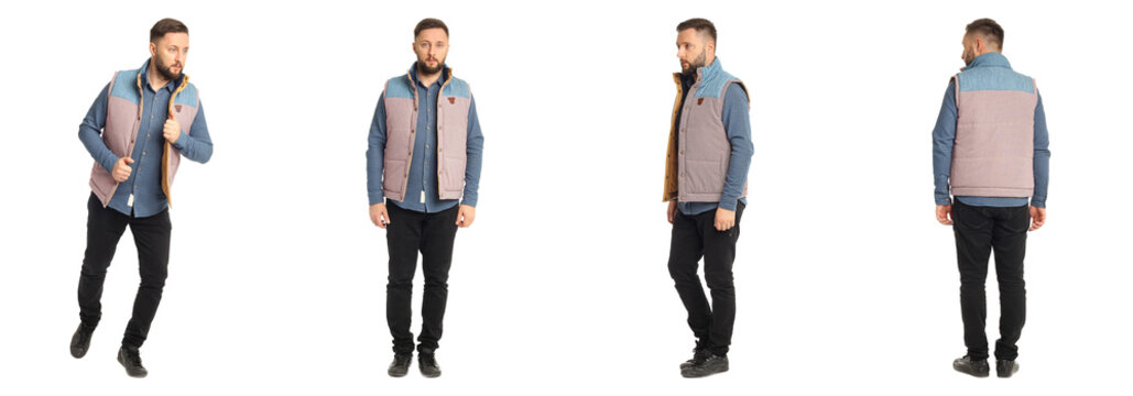 Handsome young man in jeans and lumberjack vest isolated
