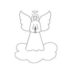 Angel on cloud silhouette. Biblical personage. Religion symbol christmas season, holiday easter and love. Monochrome template for printed, banner, greeting card. Design element. Vector illustration.