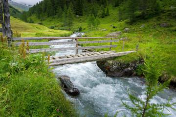 Von Kasern zur Kehreralm 2018-12   Holzbrücke über die Ahr Ahrntal Südtirol