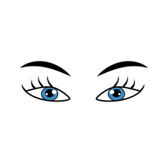Eyes blue sign. Illustration isolated icon. Fashion graphic design flat element. Modern stylish abstract symbol. Colorful template for prints, logo, label, tattoo, sign. Vector illustration.