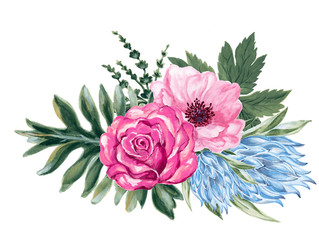 watercolor gouache elegant vintage rose anemone protea flower and leaves hand painted