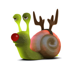 Vector 3d Snail dressed as a reindeer with a red nose