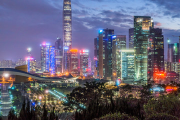 night view of Shenzhen downtown skyscrapers and skyline.