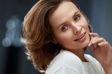 Beautiful Woman With Beauty Face, Short Hair And Natural Makeup