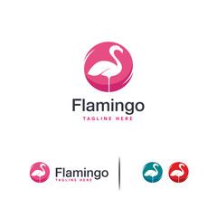 Iconic Flamingo logo designs concept vector, Lone Flamingo bird logo template