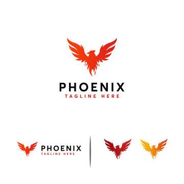 Majesty Phoenix logo designs concept vector, Flying Eagle logo template
