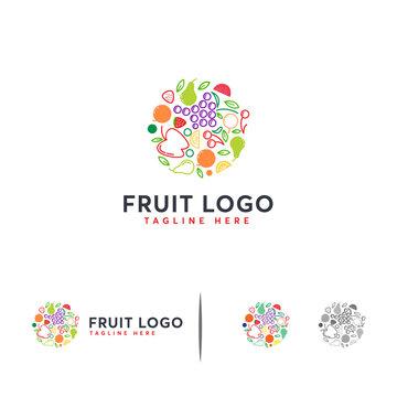 Abstract Circle Fruit logo designs line art, Fruit time logo template