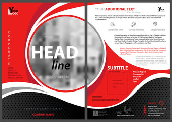 Abstract Modern Flyer Template with Circle Frame with Blurred Image and Decorative Curved Shapes with Red and Black Colors - Vector Illustration