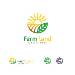 Luxury Farm land logo designs concept, Agriculture logo template