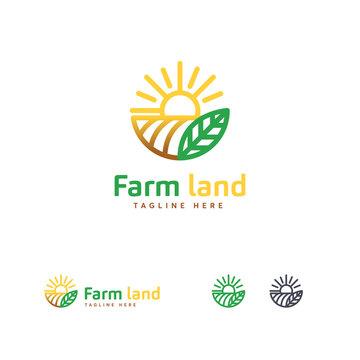 Luxury Farm land logo designs concept, Agriculture logo template