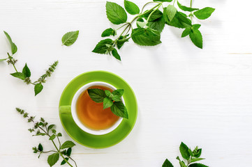 Printed kitchen splashbacks Tea Mint tea background with a space for a text