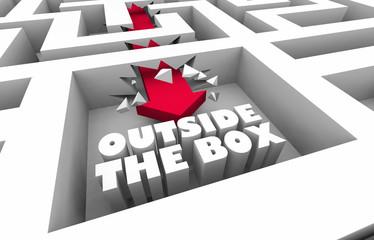 Outside the Box Thinking Unique Creative Maze 3d Illustration