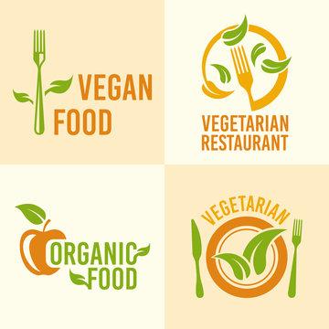 Vegetarian food set of vector vintage logos