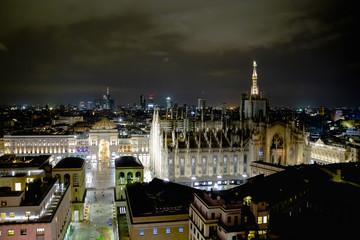 Milano, Italy - 08 31 2018: Duomo di Milano - galleria Vittorio Emanuele, aerial view - night