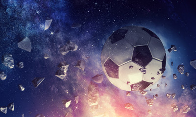Soccer ball in cosmos Wall mural