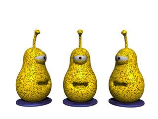 Gelbe gesprenkelte Cartoon Birnen