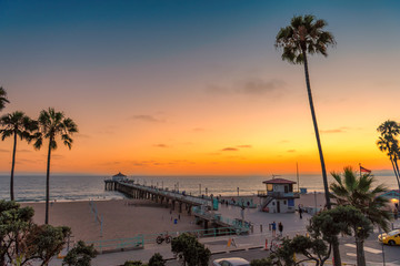 Fotobehang Verenigde Staten Palm trees and Pier on Manhattan Beach at sunset in California, Los Angeles, USA. Fashion travel and tropical beach concept.