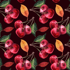 Hand painted watercolor seamless pattern berries and fruits