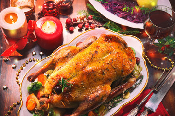Baked Christmas duck