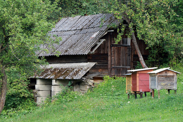 house, old, wood, wooden, garden, apiary, rural, village, architecture, hut, home, nature, grass, green, tree, abandoned, landscape, roof, traditional