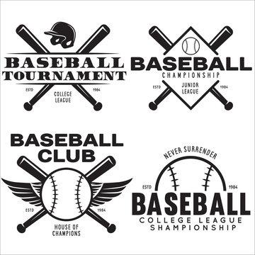 Baseball labels badges logos set. National american sport. Vector vintage illustration. Emblems with balls and crossed bats. Sports club emblems.