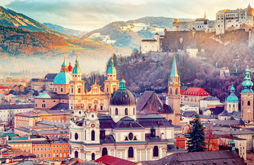 Salzburg, Austria, Europe. City in Alps of Mozart birth.  Panoramic view of Salzburg skyline with Festung Hohensalzburg and in autumn. Famous town and popular international travel destination. Fototapete
