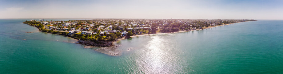 Aerial view of Woody Point and Margate on Redcliffe peninsula, Brisbane, Australia