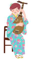 琵琶を弾く女性