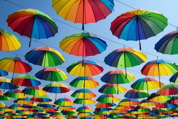 colorful umbrellas hanging