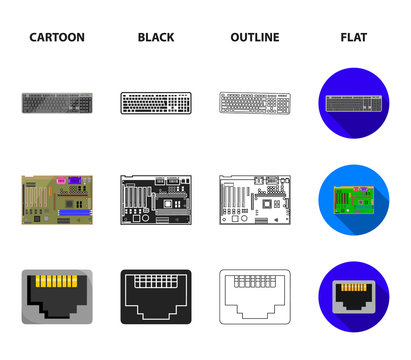 Keyboard, router, motherboard and connector. Personal computer set collection icons in cartoon,black,outline,flat style vector symbol stock illustration web.