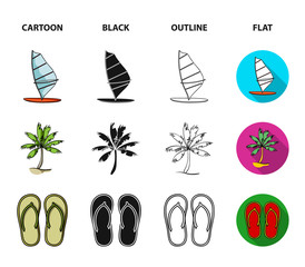 Board with a sail, a palm tree on the shore, slippers, a white shark. Surfing set collection icons in cartoon,black,outline,flat style vector symbol stock illustration web.